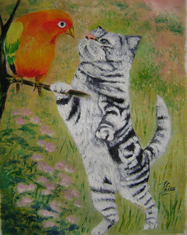 Naive Art Print featuring the painting Gossip by Lian Zhen