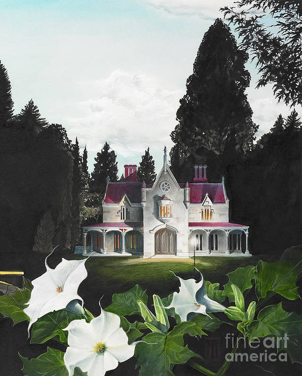 Fantasy Art Print featuring the painting Gothic Country House Detail From Night Bridge by Melissa A Benson