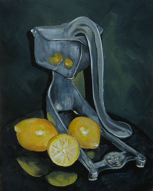 Lemons Art Print featuring the painting Grandma's Lemons by Torrie Smiley