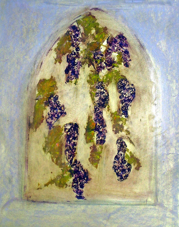 Grapes Art Print featuring the painting Grapes Through The Old Abbey Window by Michela Akers