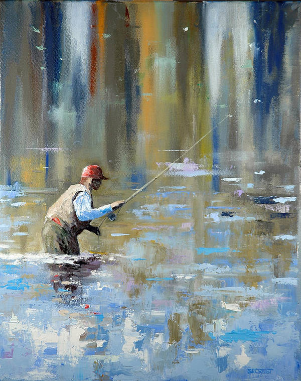 Flyfishing Art Print featuring the painting Great Expectations by Glenn Secrest