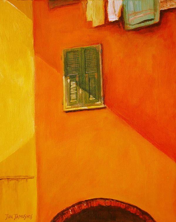 Window Art Print featuring the painting Green Window by Jun Jamosmos