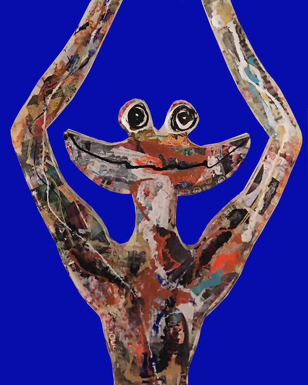 Frog Zen Smile Art Print featuring the sculpture Gren Zen by Patricia Molinaro