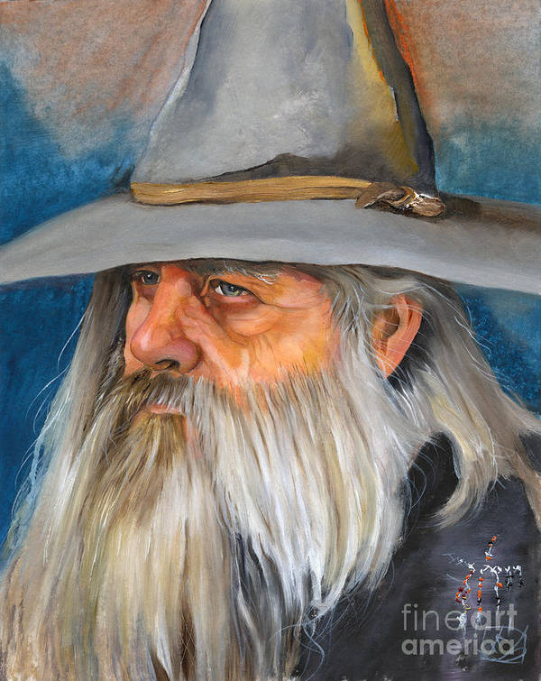 Wizard Art Print featuring the painting Grey Days by J W Baker