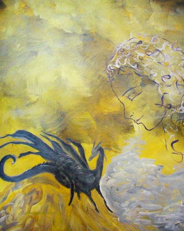 Mystical Art Print featuring the painting Guardian by Cary Singewald