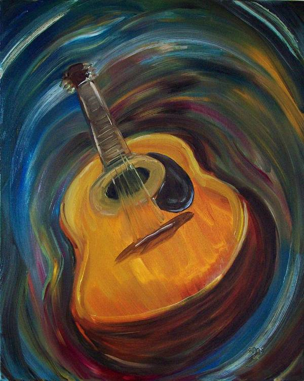 Acoustic Art Print featuring the painting Guitar by Clemens Greis