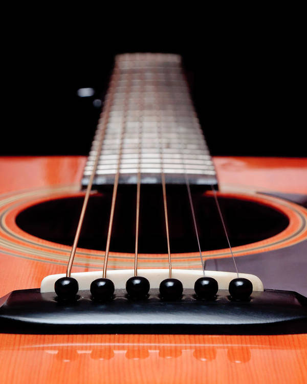 Andee Design Guitar Art Print featuring the photograph Guitar Orange 19 by Andee Design