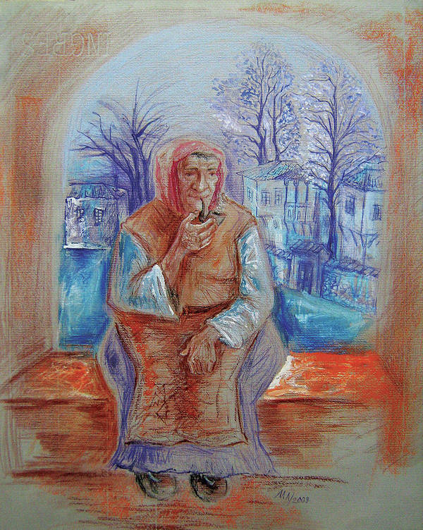 Pastel Art Print featuring the drawing Gypsy With A Pipe by Milen Litchkov