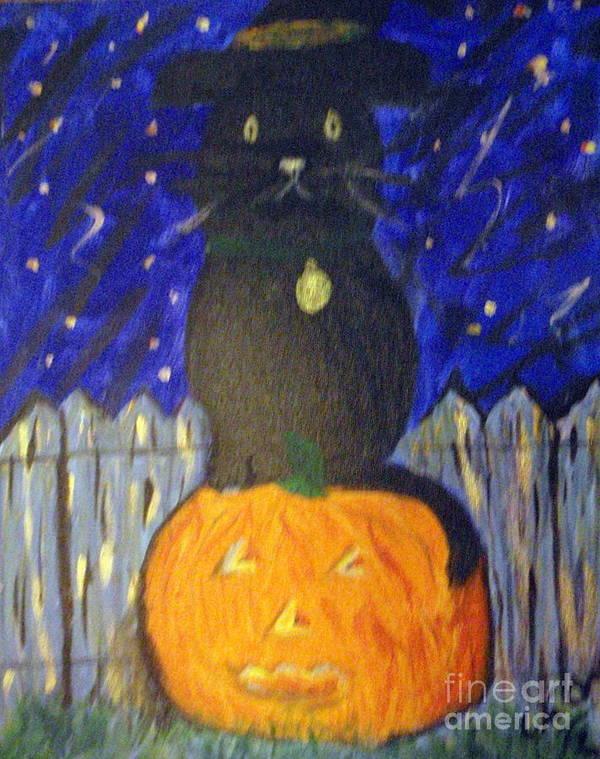 Halloween Art Print featuring the painting Halloween Cat by Elizabeth Arthur