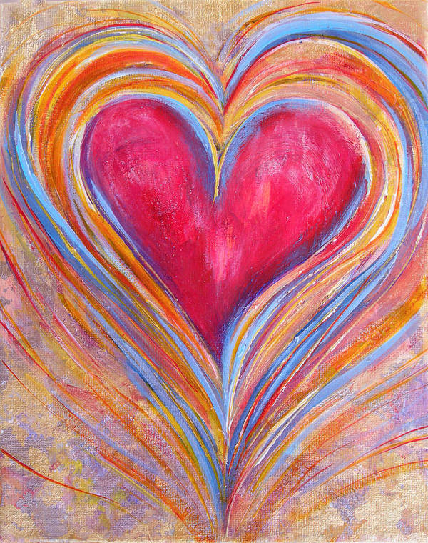 Happy Art Print featuring the painting Happy Dancing Heart by Samantha Lockwood