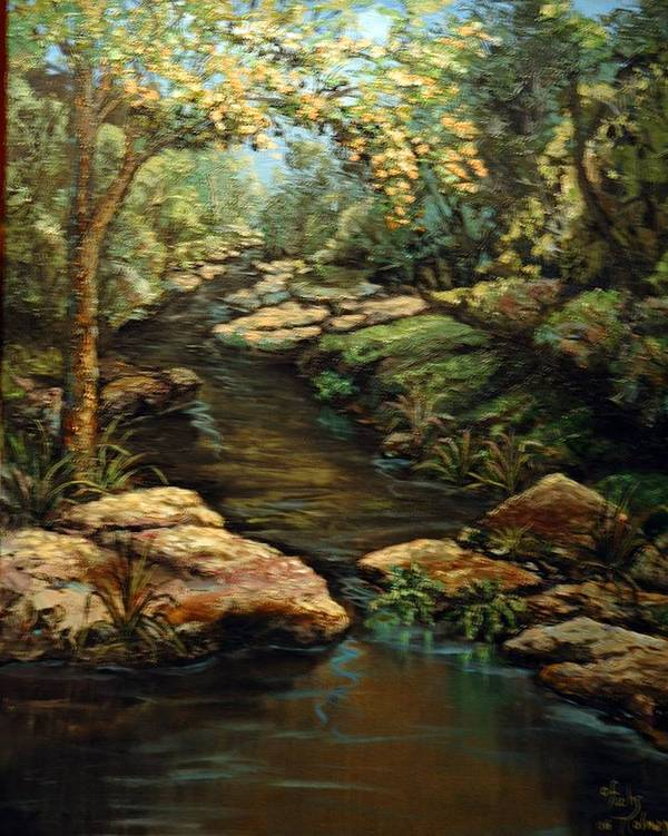 Landscape Art Print featuring the painting Harvey's Creek by Cathy Fuchs-Holman