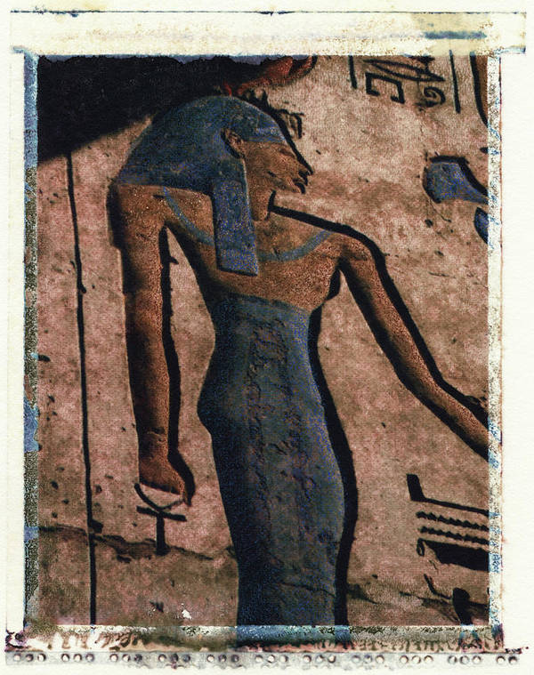 Polaroid Transfer Art Print featuring the photograph Hathor Holding The Ankh Sign by Bernice Williams