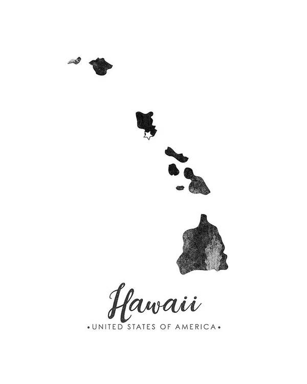 photo regarding Printable Map of Hawaii identified as Hawaii Region Map Artwork - Grunge Silhouette Artwork Print