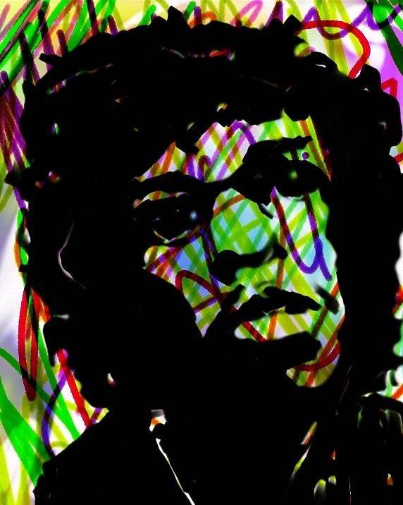 Portrait Art Print featuring the digital art Hendrix by Jill Wilhelm