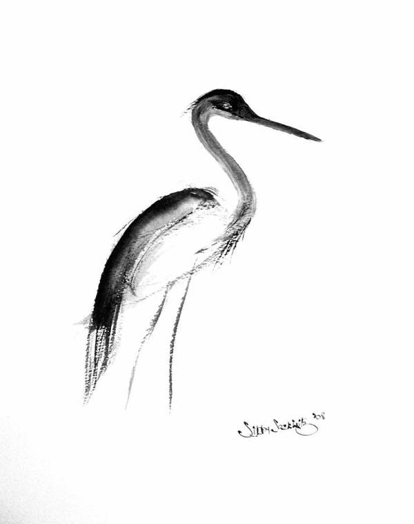 Sumi-e Art Print featuring the painting Heron by Sibby S