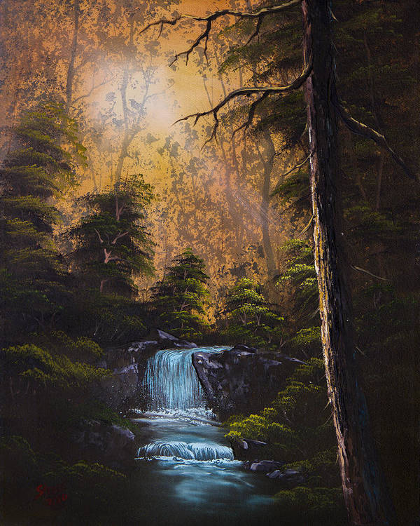Landscape Art Print featuring the painting Hidden Brook by Chris Steele