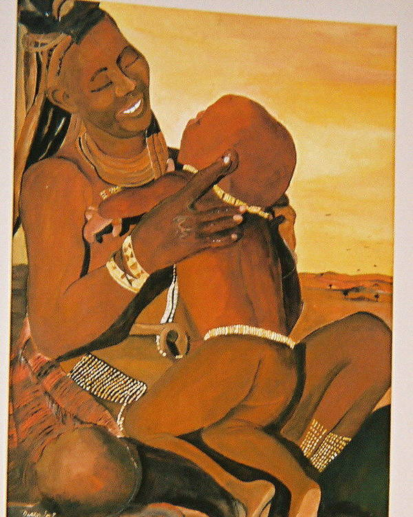 Figure Art Print featuring the painting Himba Mom by Desenclos Patrick