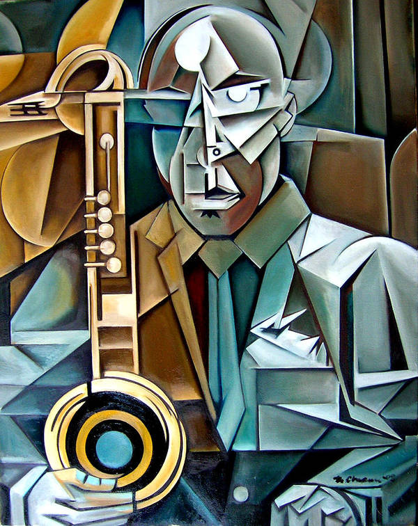 Jazz Saxophone Tim Warfield Art Print featuring the painting Horn And Man by Martel Chapman