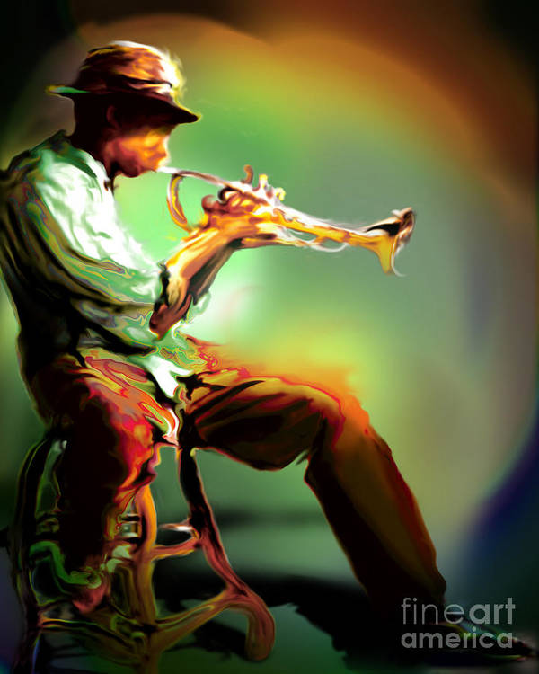 Jazz Art Art Print featuring the painting Horn Player II by Mike Massengale