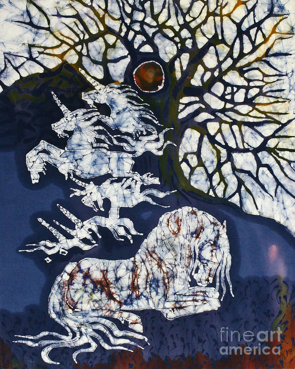 Horse Art Print featuring the tapestry - textile Horse Dreaming Below Trees by Carol Law Conklin