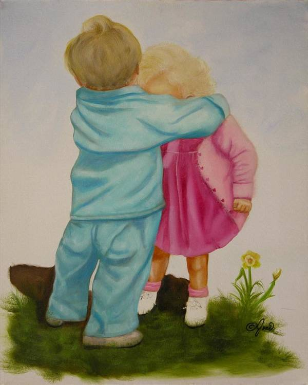 Children Art Print featuring the painting Hugs Are Magic by Joni McPherson