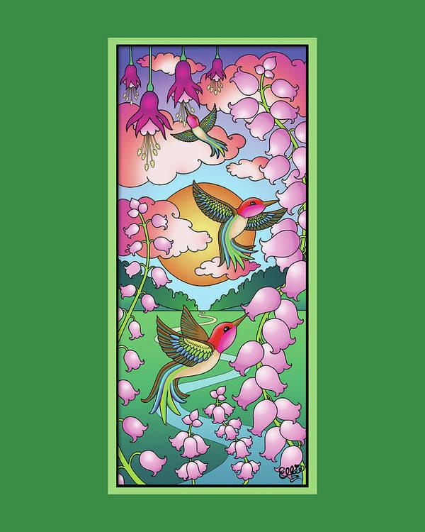 Hummingbirds Art Print featuring the digital art Hummingbird Sunrise by Eleanor Hofer