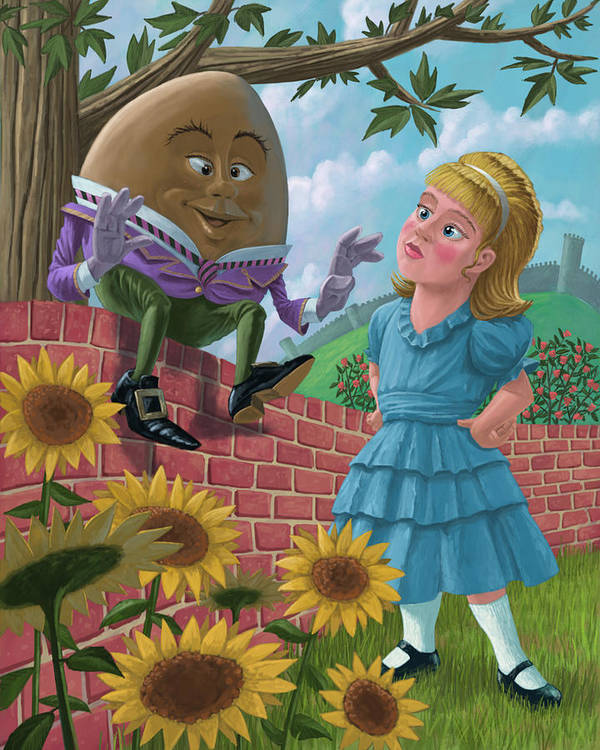Humpty Art Print featuring the painting Humpty Dumpty On Wall With Alice by Martin Davey