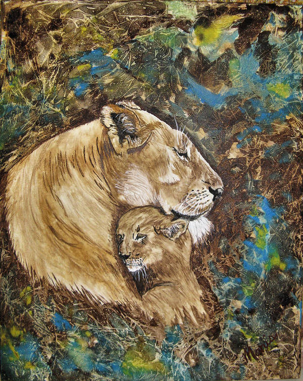 Animals Art Print featuring the painting Ilsa And Sasha by Maris Sherwood