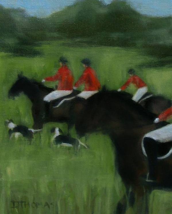Horse Art Print featuring the painting In Pursuit by Donna Thomas