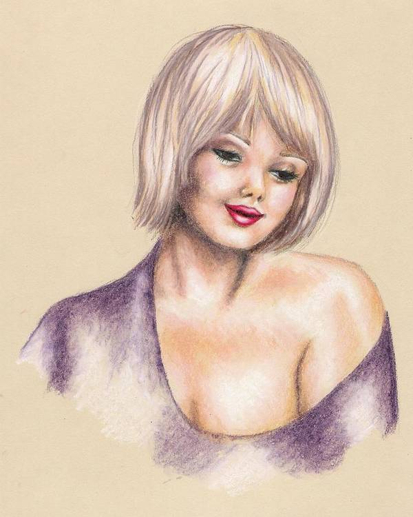 Portrait Art Print featuring the drawing Innocence by Scarlett Royal