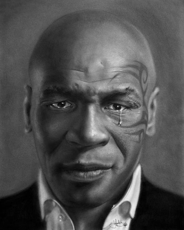 Mike Print featuring the drawing Iron Mike Tyson Drawing by John Harding