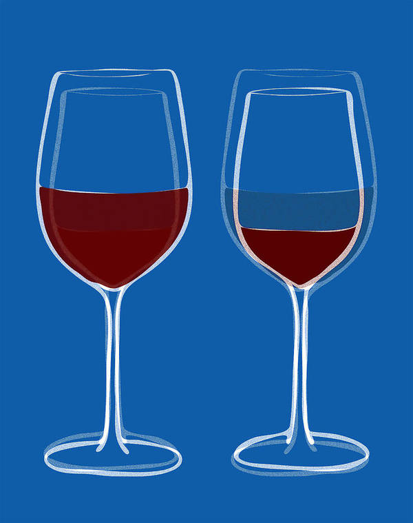 Wine Art Print featuring the painting Is The Glass Half Empty Or Half Full by Frank Tschakert