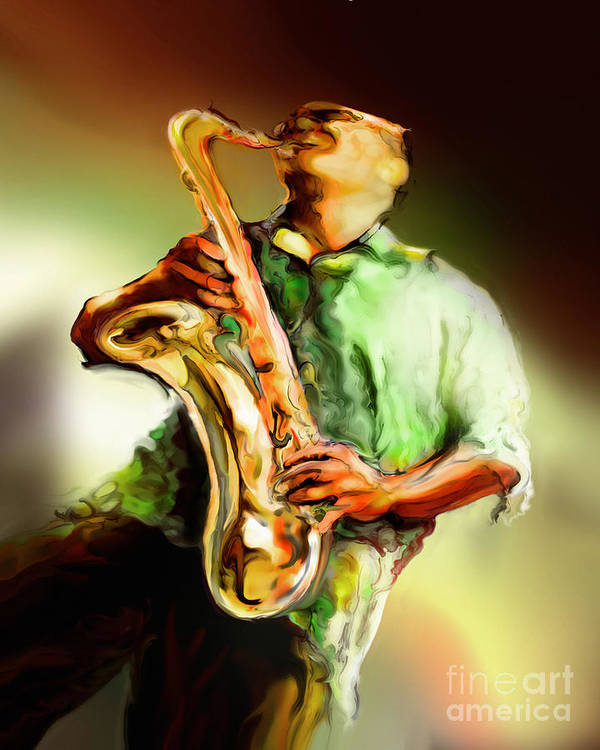 Jazz Art Art Print featuring the painting Jam by Mike Massengale