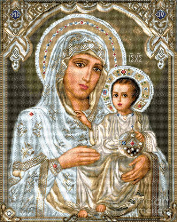 Jerusalem Theotokos Orthodox Icon Religious Gobelin Needlework Jesus Maria Holy Mother Art Print featuring the tapestry - textile Jerusalem Theotokos by Stoyanka Ivanova