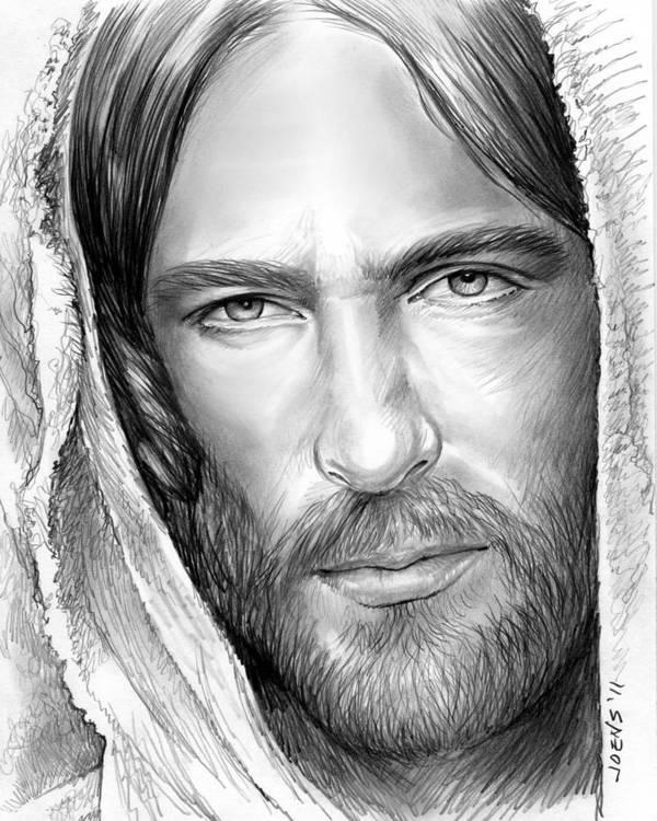 Jesus Art Print featuring the drawing Jesus Face by Greg Joens