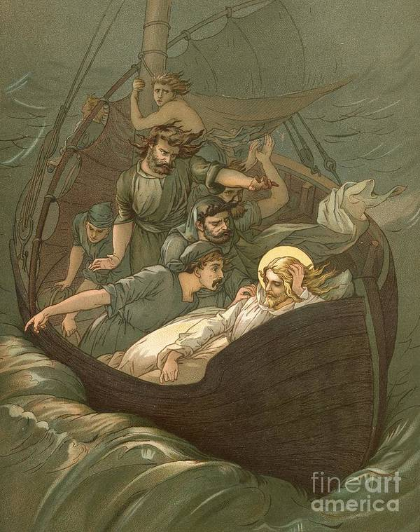 Bible; Jesus Christ; Sleeping; Rest; Storm; Boat; Sea Of Galilee; Big Waves Art Print featuring the painting Jesus Sleeping During The Storm by John Lawson
