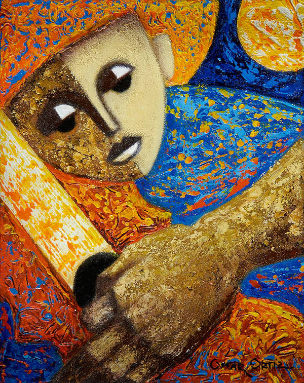 Color Art Print featuring the painting Jibaro Y Sol by Oscar Ortiz