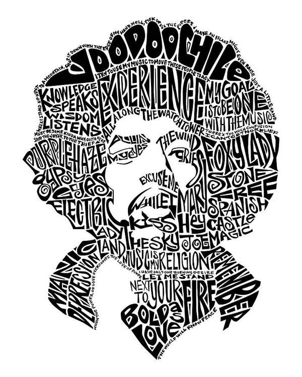 Jimi Hendrix Art Print Featuring The Drawing Black And White Word Portrait By Kato