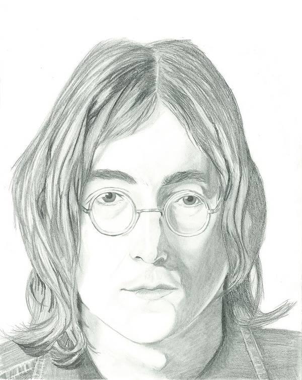 John Lennon Art Print featuring the drawing John Lennon Portrait by Seventh Son