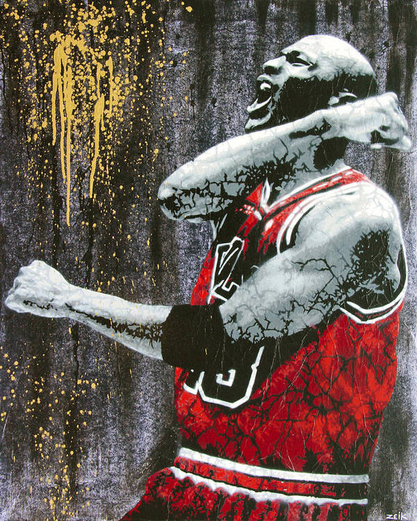 Michael Jordan Art Print featuring the painting Jordan - The Best There Ever Was by Bobby Zeik