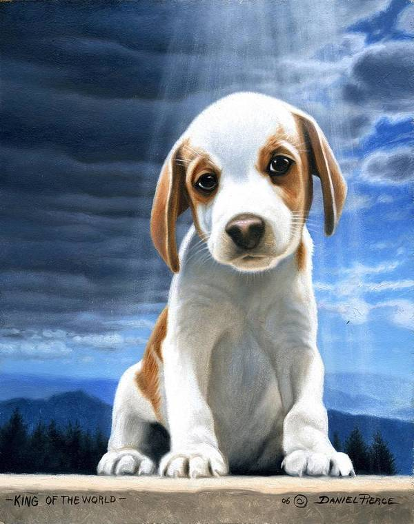 Dog Beagle Puppy Sunray Painting Original Blue Sky Art Print featuring the painting King Of The World-beagle Puppy by Daniel Pierce