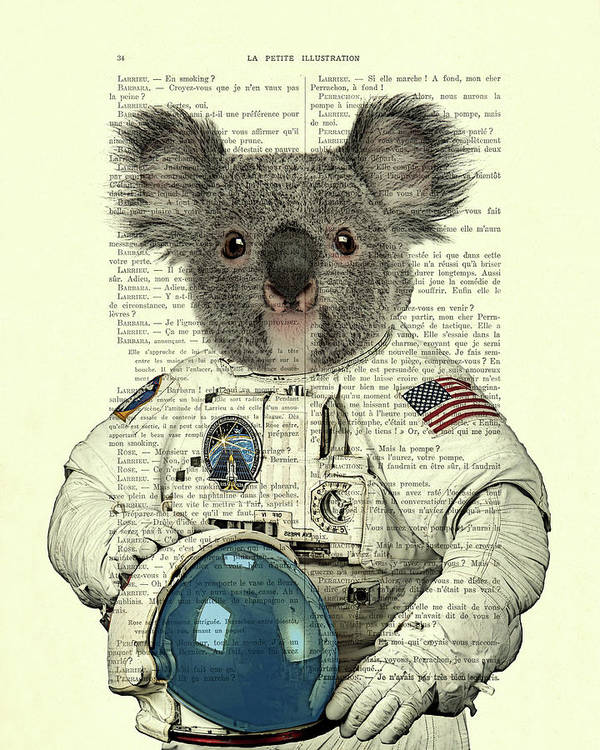 Astronaut Art Print featuring the digital art Koala In Space Illustration by Madame Memento