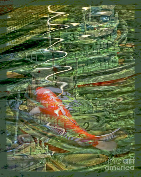 Koi Art Print featuring the digital art Koi Boats by Chuck Brittenham