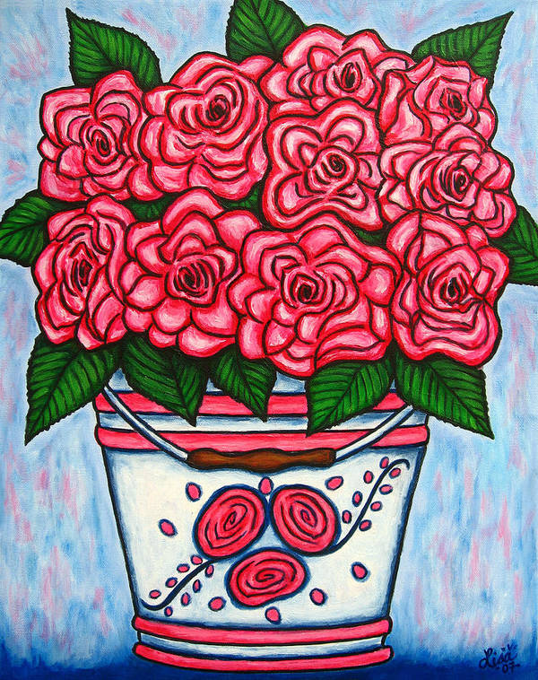 Rose Art Print featuring the painting La Vie En Rose by Lisa Lorenz