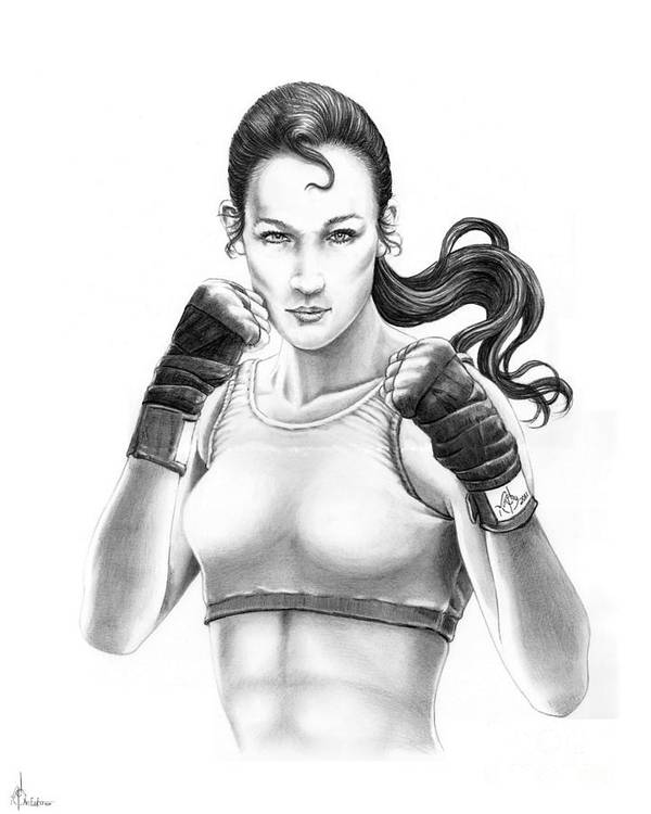 Drawing Art Print featuring the drawing Lady Boxer by Murphy Elliott