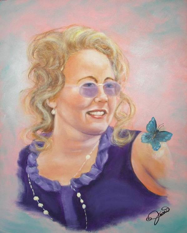Portrait Art Print featuring the painting Lady In Purple by Joni McPherson
