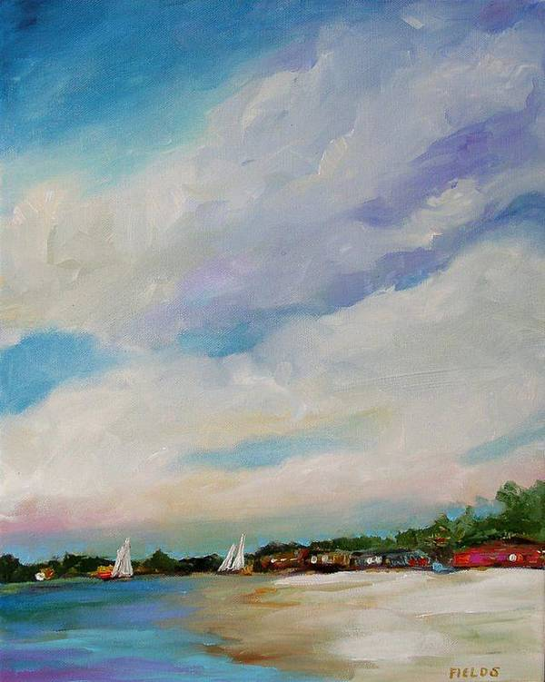 Lake Art Print featuring the painting Lake House by Karen Fields