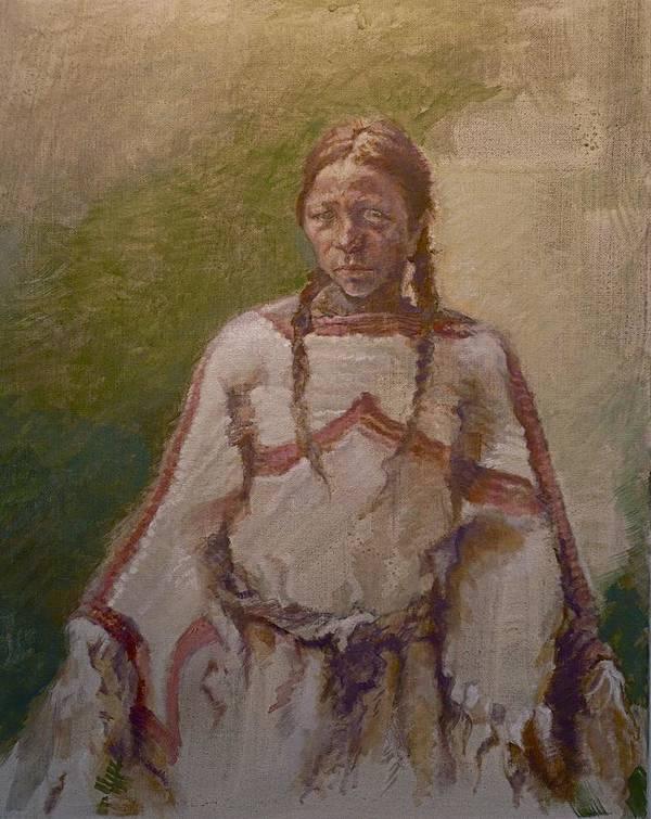 One Wnative American Print featuring the painting Lakota Woman by Ellen Dreibelbis