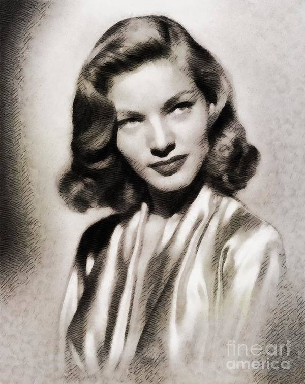 Hollywood Art Print featuring the painting Lauren Bacall, Vintage Actress by John Springfield