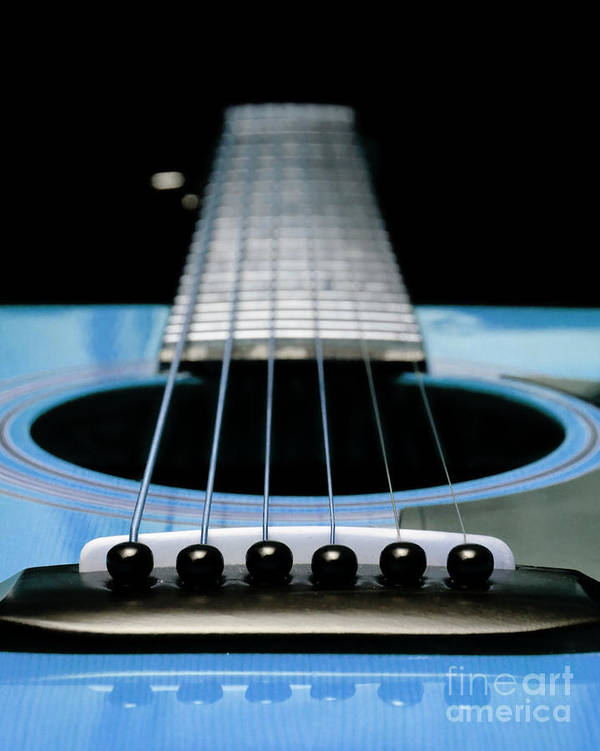 Andee Design Guitar Art Print featuring the photograph Light Blue Guitar 13 by Andee Design